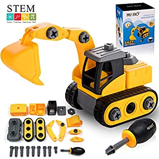 Mushky Take Apart Toys for Boys and Girls, 23pc Assembly Excavator Construction Truck with a Screwdriver, STEM Educational Learning Toys for Toddlers, Toy Gifts for Kids 3, 4, 5, 6 Year Old's