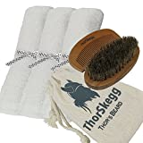 "Best Beard Grooming Kit From ThorSkegg Man-Sized 14"" x 14"" White Bamboo Washcloths At-Home Hot Towel Treatment 100% Natural Boar Bristle Hair Brush Bamboo Wooden Comb For All Beard Styles - White"