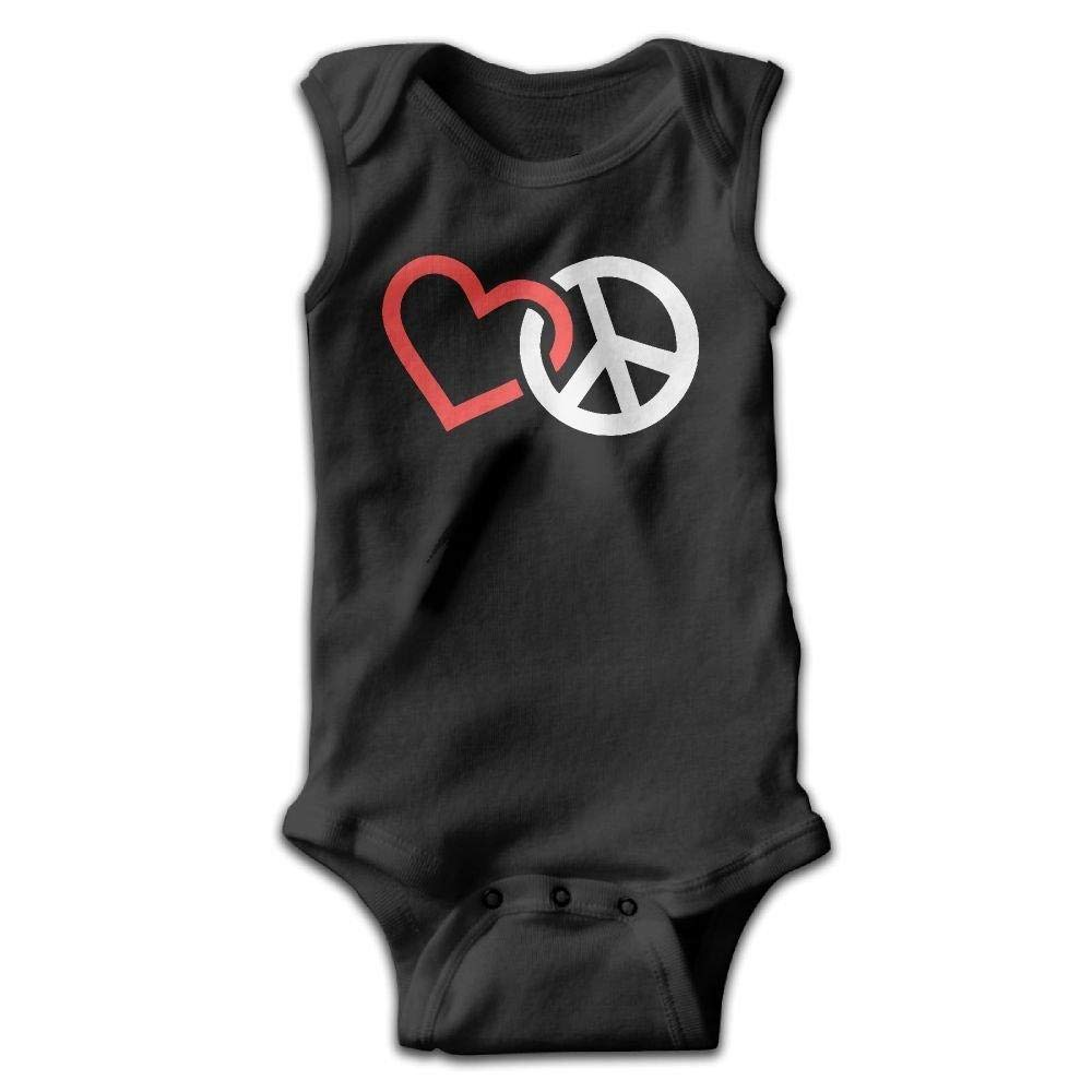 Love Peace Sign Infant Baby Boys Girls Crawling Clothes Sleeveless Romper Bodysuit Onesies Jumpsuit Black