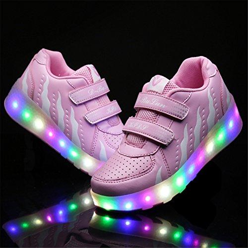 SIKAINI LED Zapatillas Deporte Patín ruedas Luminoso Formadores Niños LED con Un Adulto Rueda Intermitente Zapatos Pink 028
