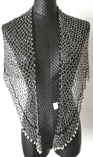 [Curise Triangle Beaded Fishnet Fringed Hip Scarf Wrap Belt -- black] (Black Sparkly Dance Costumes)