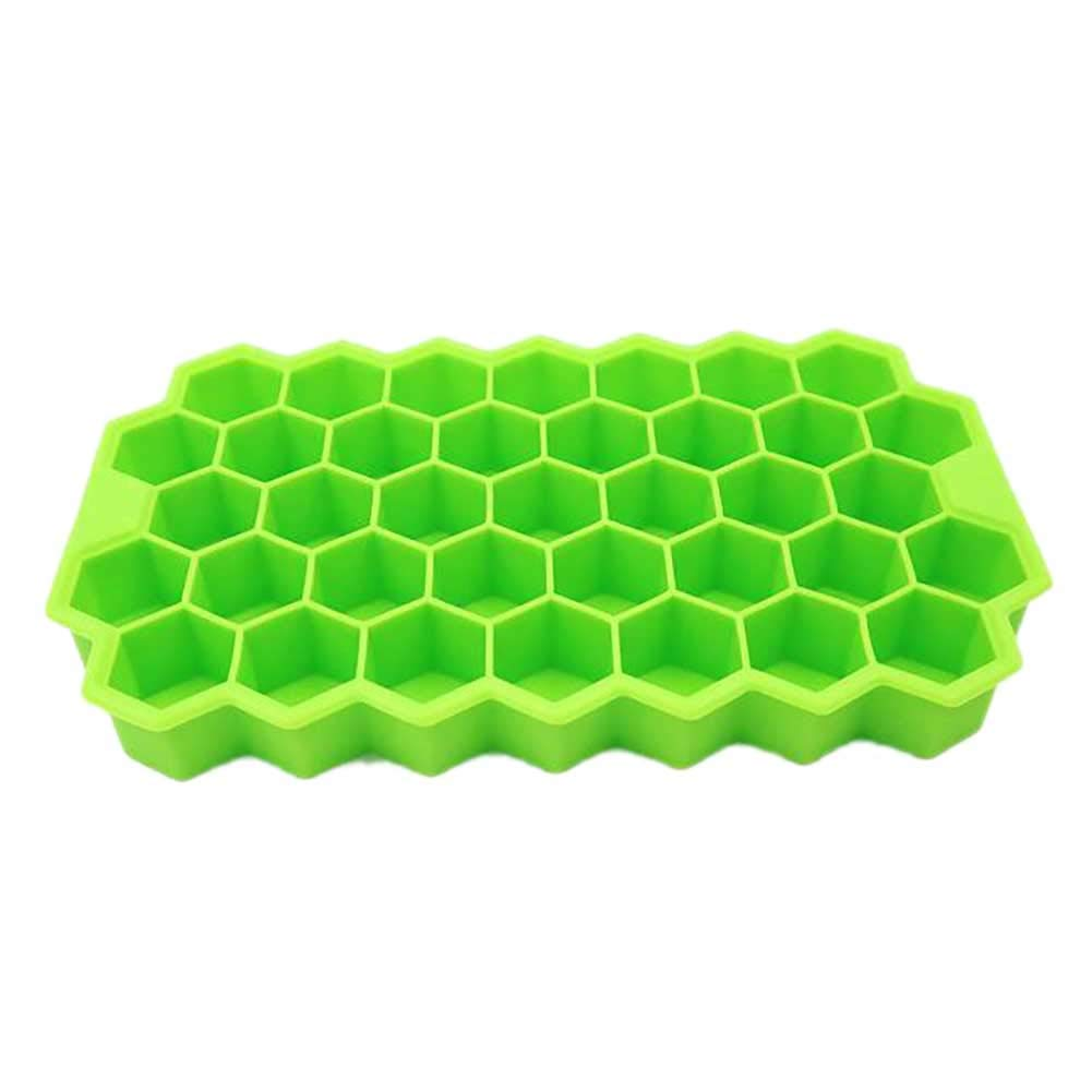 KSell BPA Free Summer Ice Cube Trays Spill-Resistant Removable Lid Ice Cube Molds Honeycomb Shape Ice Cube 37 Cubes GN