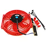 Universal 10 inch Slim Fan Push Pull Electric Radiator Cooling 12V Mount Kit Red