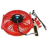 Universal 10 inch Slim Fan Push Pull Electric Radiator Cooling 12V Mount Kit Red