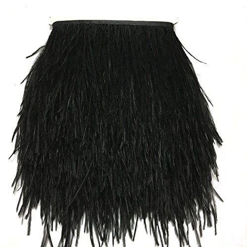 KOLIGHT Pack of 5 Yards Natural Dyed Ostrich Feathers Trim Fringe 4~5inch for DIY Dress Sewing Crafts Costumes Decoration (Black) -