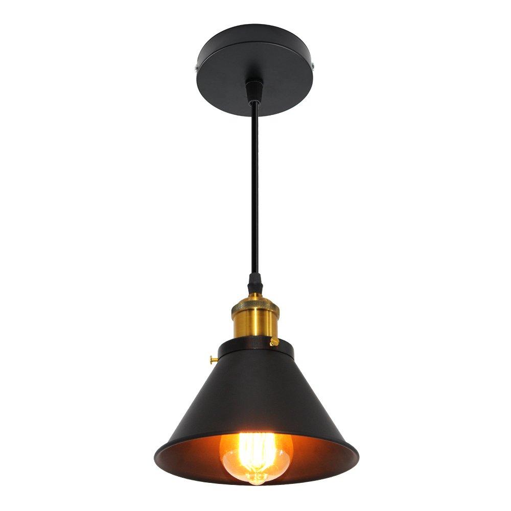 Ledhopp Ceiling Lamp Semi Flush Mount Ceiling Lamp Ceiling Light Metal Pendant Light for Dining Room Bedroom Livingroom (Black, Dia-7.1inch)