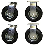 pneumatic caster wheels - 6 Inch Pneumatic Caster Wheel Set with Small Top Plate