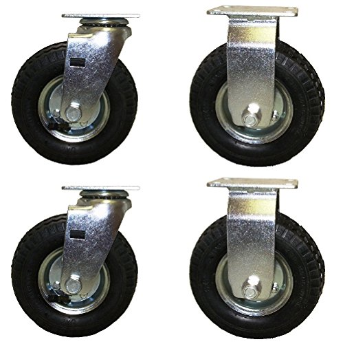 Heavy Pneumatic Duty Casters (6 Inch Pneumatic Caster Wheel Set with Small Top Plate)