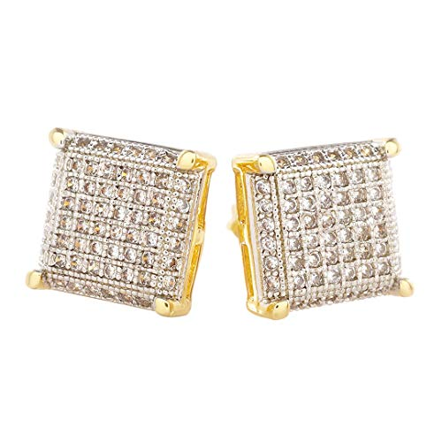 18K Gold Plated Silver ICED OUT Stud Square Earring (Gold) by Niv's Bling
