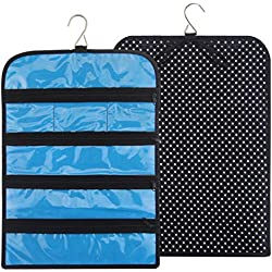 """Ohlily Jewelry Roll Up Bag Travel Organizer Hanging with Zippers Compartments Waterproof (12.2""""L x 16.3""""H, Polka Dots)"""