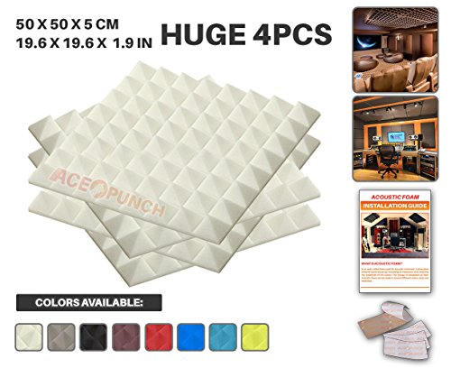 Ace Punch 4 Pack WHITE Pyramid Acoustic Foam Panel DIY Design Studio Soundproofing Wall Tiles Sound Insulation with Free Mounting Tabs 19.6