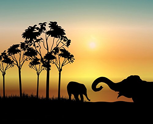 JP London MD3043PS Peel and Stick Prepasted African Serengeti Elephants at Dusk Removable Wall Mural, 10.5-Feet by 8.5-Feet