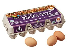 365 Everyday Value, Cage-Free Non-GMO Medium Brown Grade A Eggs, 18 ct