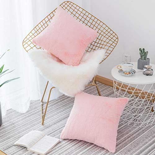 Home Brilliang Pack of 2, Soft Luxury Series Faux Rabbit Fur Throw Pillow Case Cushion Cover for Sofa Bedroom Car 18 x 18 Inch 45 x 45 cm, Pink