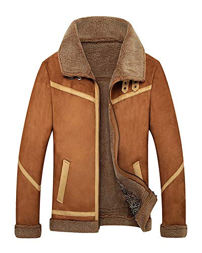 Mens Sherpa Wool Coat Lamb Velvet Fur Jacket Men Suede Parka in Autumn Winter