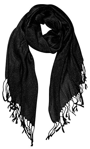 Shimmer Scarf (Peach Couture Beautiful Princess Shimmer Sparkle Lightweight Sheer Fringe Scarf Black)