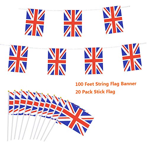 - Cleverwolf 100 Feet United Kingdom String Flag 76 PCS Pennant Banners UK Flags and 20 Pack United Kingdom Stick Flag Perfect for Garden,Olympics,World Cup