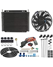 """American Volt Heavy Duty 11"""" Transmission Oil Cooler 9"""" Inch Electric Fan & Push-in Fin Probe Thermostat Switch Wiring Kit"""