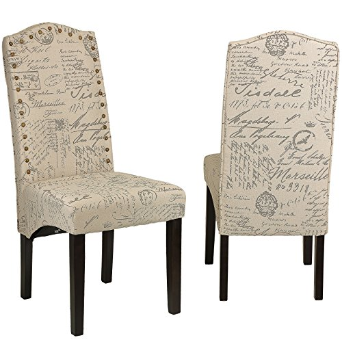 cortesi home miller dining chair in beige script fabric set of 2 beige
