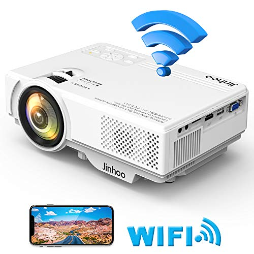 "WiFi Mini Projector, 2019 Newest 1080P Supported, 2600 Lumens HD Video Projector with 176"" Projector Size, 50000 Hours Lamp Lifetime, Compatible with TV Stick, HDMI, USB for Home Theater, Movie and M"