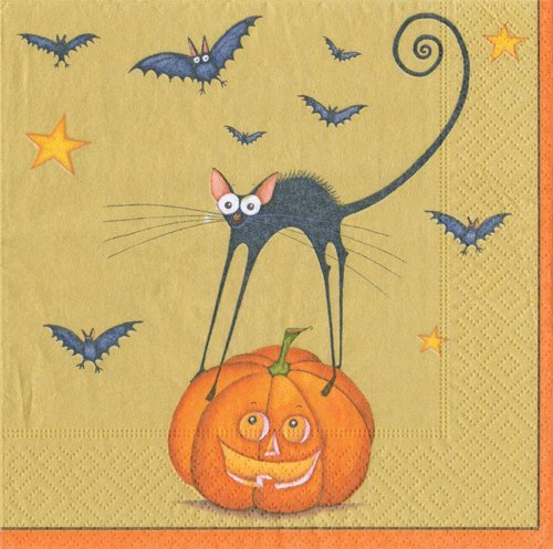 Halloween Decorations Ideas Trick or Treat Halloween Party Paper Napkins Beverage Size Bat Cat Pk 40 -