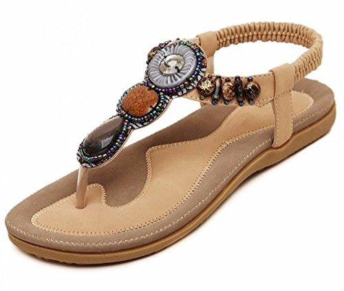 YMFIE Sandalias de cuña de Las Mujeres de Verano Sandalias de Solapa Bohemia con Cuentas de Punta Abierta Piso Slip Beach Shoes E