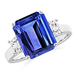 December Birthstone - Three Stone Emerald-Cut Tanzanite and Diamond Ring for Women