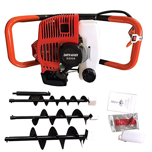 - 52cc 2-Stroke 2.3HP Gas Powered Post Hole Digger Borer Ground Fence Drill Single Cylinder Drill + 4