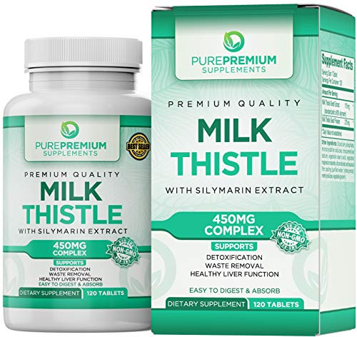 Premium Milk Thistle Capsules by PurePremium (Non-GMO) Super-Concentrated with Silymarin Extract. Liver Cleanse, Detox, and Support. (Choosing The Best Glutathione Supplements)