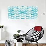 Liguo88 Custom canvas Teal Decor Collection Tile Shaped Texture Pattern Islamic Historical Architecture Mosaic Style Illustration Bedroom Living Room Wall Hanging Turquoise