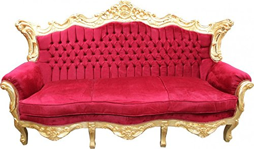Casa Padrino Barock Sofa Master Bordeaux Rot / Gold Mod2 - Wohnzimmer Möbel Loung Couch