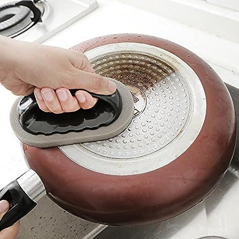 Esponja antiarañazos para limpieza de cocina, con mango disponible