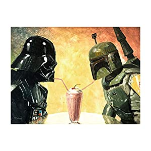 Bucket BFF's – Star Wars Darth Vader and Boba Fett Parody – 9″ x 12″ Reproduction Gallery Wrapped Canvas Wall Art