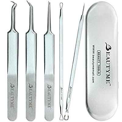 Blackhead Remover Kit Pimple Comedone Acne Extractor Removal Tool-Treatment for Blemish,Whitehead Popping,Zit Removing for Risk Free Nose Face Skin with Metal Case,Surgical Grade