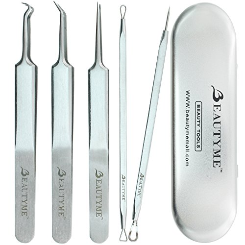 Blackhead Remover Kit Pimple Comedone Acne Extractor Removal Tool-Treatment for Blemish,Whitehead Popping,Zit Removing for Risk Free Nose Face Skin with Metal Case,Surgical Grade (Hands Free Back Scrubber compare prices)