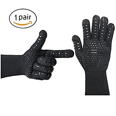 WUOJI Heat Resistant Oven Gloves- SPD 932°F Extreme High Heat BBQ Grill Gloves Temperature Protection& Oven Mittsfor Cooking, BBQ, Grilling, Frying & Baking