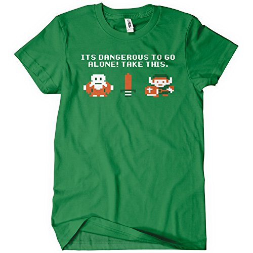 It's Dangerous to Go Alone Take This Adult Men's Green Gaming T-Shirt Sizes S-5XL