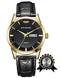 BRIGADA Swiss Brand Classic Gold Black Waterproof Sport Watch for Men Boys
