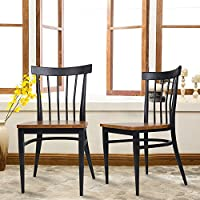 Dporticus Dining Room Chairs W/ Solid Wood Seat & Metal Legs Indoor and Outdoor Use Set of 2(Black)