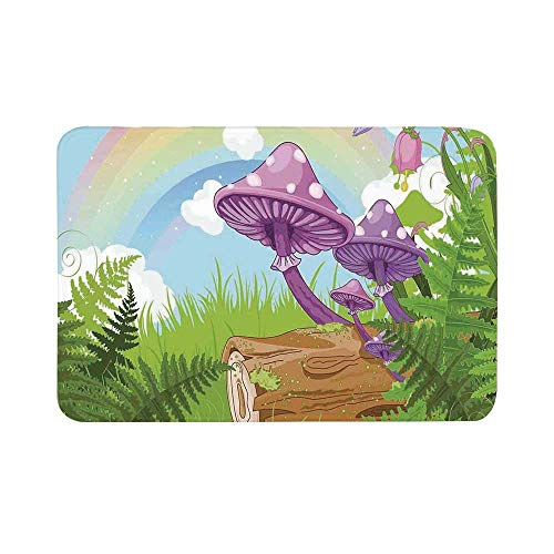 C COABALLA Mushroom Decor Durable Door Mat,Fantastic Scenery with Wood Timber on The Grass and Rainbow Fungus Herbs Leaves Weed Artwork for Living Room,17.7