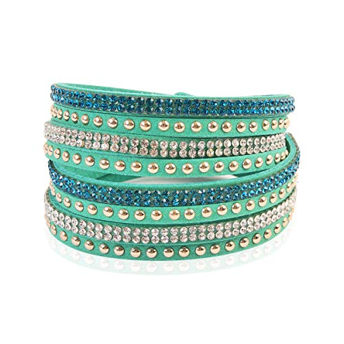 RIAH FASHION Bohemian Faux Suede Leather Wrap Multi Layer Bracelet - Boho Wrist Adjustable Cuff Bangle Crystal Rhinestone/Bead Embellishment (Stud Mix - Green)
