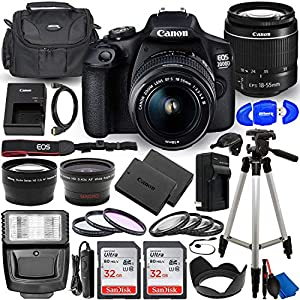 Canon EOS 2000D (Rebel T7) DSLR Camera with EF-S 18-55mm f/3.5-5.6 DC III Lens – Ultimate Accessory Bundle Includes: 2X…