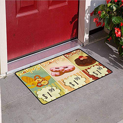 Jinguizi Vintage Welcome Door mat Bakery Collection of Delicious Pastries Deserts Doughnuts and Cakes with Price Tags Door mat is odorless and Durable W29.5 x L39.4 Inch Multicolor