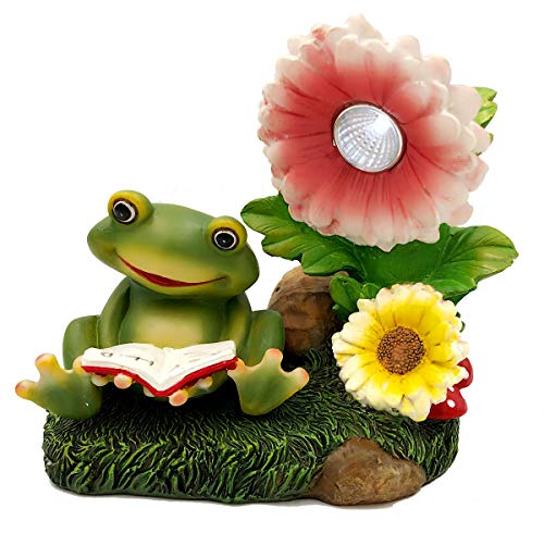 Solar Powered Frog with Flowers Outdoor LED Garden Light Decor ()