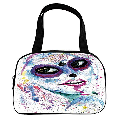Multiple Picture Printing Small Handbag Pink,Girls,Grunge Halloween Lady with Sugar Skull Make Up Creepy Dead Face Gothic Woman Artsy,Blue Purple,for Girls,Comfortable Design.6.3