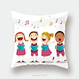 Custom Satin Pillowcase Protector Vector Illustration Of Choir Girls And Boys Singing A Song 387532660 Pillow Case Covers Decorative