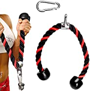 TOBWOLF 70cm Training Rope for Triceps Extensions, Tricep Exercise Rope Cable Attachment Gym Rope for Home Gym