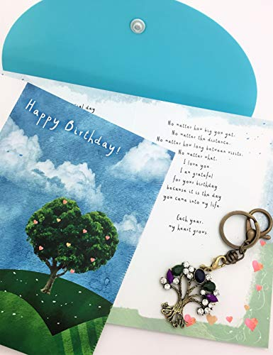 - Smiling Wisdom - Love Grows Happy Birthday Greeting Card Gift Set - Older Child,Young Adult Son or Daughter - Gemstone Colored XL Tree Charm/Key Chain/Ornament - 1.75 x 1.75