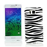 Kit Me Out CAN TPU Gel Case for Samsung Galaxy Alpha G850F - Black / White Zebra