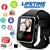 Bluetooth Smart Watch With Camera Sim Card Slot Touch Screen Smartwatch Unlocked Cell Phone Watch Sports Smart Wrist Watch For Android Phones Samsung Sony IOS (X-Black)